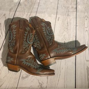 Lucchese Turquoise Embroidered Cowboy Boots